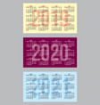 set of color calendar grid templates in vector image