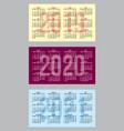 set of color calendar grid templates vector image