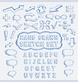 set of hand drawn elements font mathematics and vector image