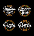 set of italian food and pasta hand written vector image
