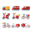 set of vehicles for logistic service vector image vector image