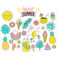 set sweet summer hand drawn elements vector image vector image