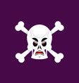 skull and crossbones angry emoji skeleton head vector image