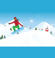 snowboarder jumping through air against blue sky vector image vector image