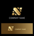 square gold letter n logo vector image vector image