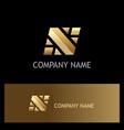 square gold letter n logo vector image