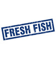 square grunge blue fresh fish stamp vector image vector image