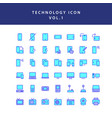 technology filled outline icon set vol1 vector image vector image