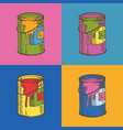 tin cans of paint in pop art style vector image