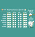 toothbrushing diary for kids week starts sunday vector image vector image