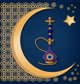 traditional turkish ceramic blue hookah with vector image vector image