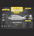 vintage chalk drawing seafood menu design vector image