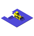 yellow bulldozer pushing blue ground modern vector image vector image