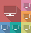 Icon of Monitor Flat style Long shadow vector image