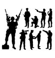 Police soldier military silhouettes vector image