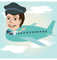a pilot on an airplane above sky vector image vector image
