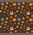 autumn pattern with cute animals and leaves vector image vector image