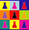 beautiful long dress sign pop-art style vector image vector image