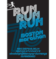 Boston marathon run font vector image vector image