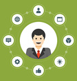 Business man concept and flat icons set thumbs up vector image vector image