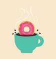card with coffee and donut vector image vector image