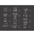 Cart stall sketch icons on black vector image vector image