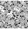 cartoon cute doodles hand drawn school seamless vector image vector image