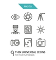 Collection of photo trendy thin line icons vector image