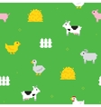 Cute farm pixel art seamless pattern vector image vector image