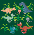 dinosaurs on the background of a wild forest vector image vector image