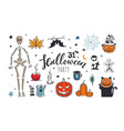 doodle cartoon halloween night collection vector image