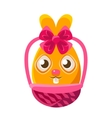 Easter Egg Shaped Orange Easter Bunny In Wicker vector image vector image