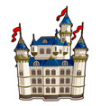 fairytale castle with blue roof and red flags vector image vector image