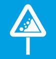 falling rocks warning traffic sign icon white vector image vector image