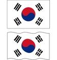Flat and waving South Korea Flag vector image vector image
