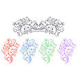 floral decorative ornaments set colored flower vector image vector image