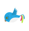flying colorful blue white bird parrot in air vector image