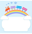 Frame with colorful train on rainbow vector image
