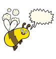 funny cartoon bee with speech bubble vector image