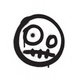 graffiti scary emoji sprayed in black over white vector image vector image