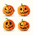 halloween cartoon smiling spooky face pumpkins set vector image