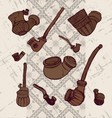 Ink hand drawn ukrainian traditional tobacco pipes vector image vector image