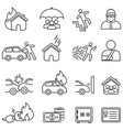 insurance line icon set vector image vector image