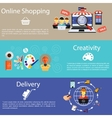 Internet shopping creativity and delivery vector image vector image