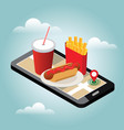 isometric city winter fast food delivering fast vector image