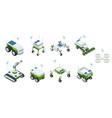 isometric set of iot smart industry robot 40 vector image