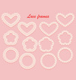 lace carved frame in the shape of a heart flower vector image vector image