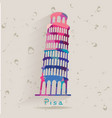 Leaning Tower of Pisa made of triangles vector image