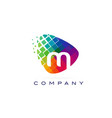 letter m colourful rainbow logo design vector image