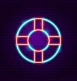 lifebuoy neon label vector image
